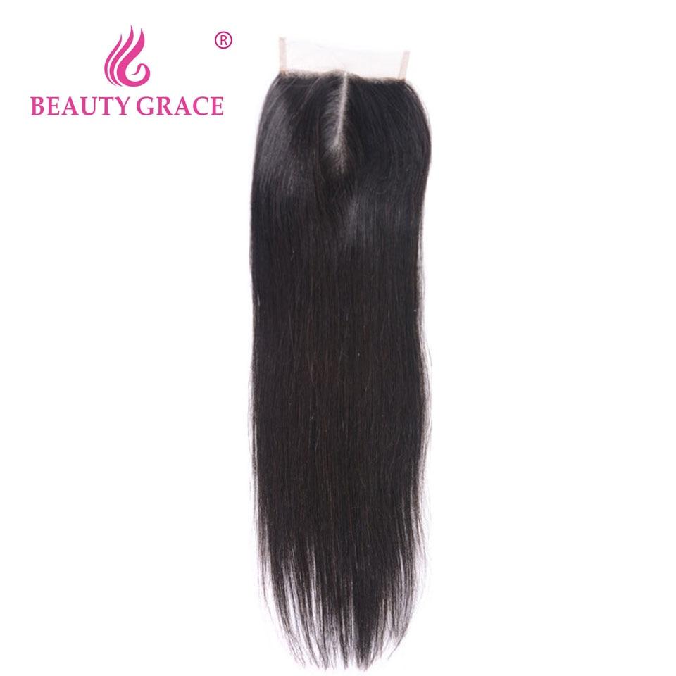 Szépség Grace brazil egyenes csipke bezárása 4x4 Remy 100% emberi haj baba haj közepén felső zárások 1 csomag