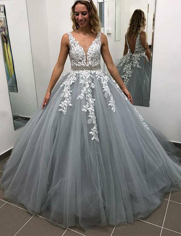 Princess Ball Gown   Prom     Dress   Sexy V Neck Appliques Open Back Plus Size Women Formal Evening   Dresses   Long Special Gowns