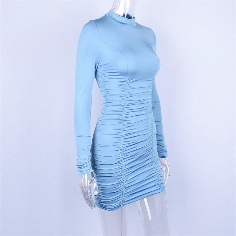 Hugcitar satin long sleeve high neck high waist bodycon sexy mini dress 19 autumn winter women fashion party elegant clothes 17
