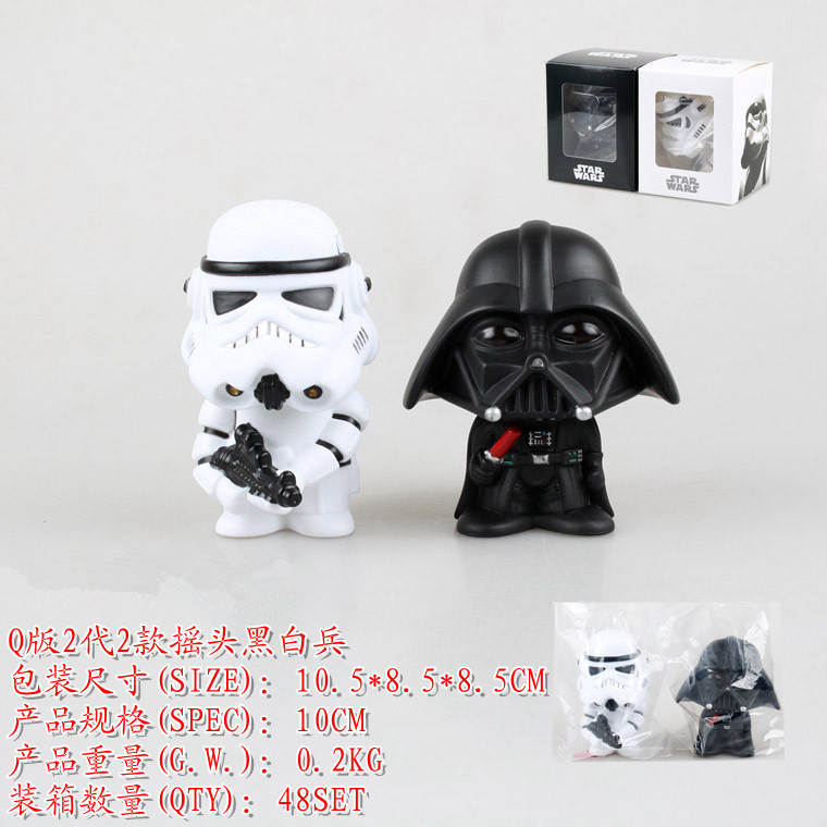 2pcs Bobblehead Star Wars Darth Vader Stormtrooper Toy Bobblehead Car Decoration Action Figure PVC Clone Trooper Toy GIft