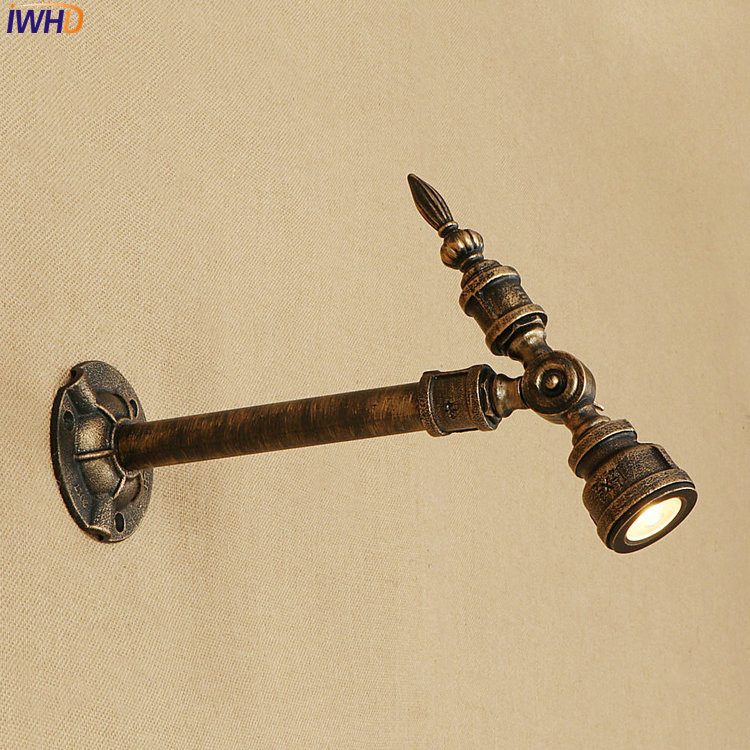 IWHD Adjustable Fixtures Nordic Modern Loft Wall Lamp Iron Water Pipe Wandlamp Vintage Bathroom Light Applique