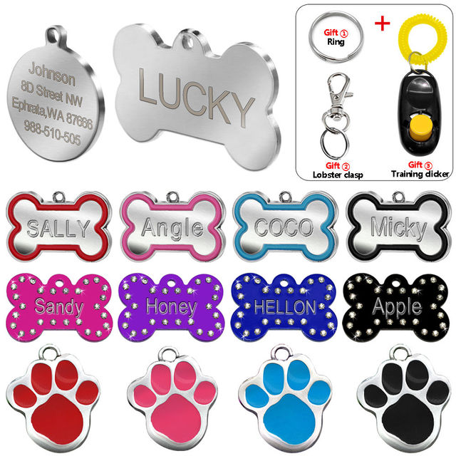 Engraved Pet Dog Tags Custom Cat ID Name Tags for Pets Personalized