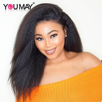 180% Density Full Lace Wig With Baby Hair Kinky Straight Black Brazilian Pre Plucked Human Hair Wigs For Women You May Remy