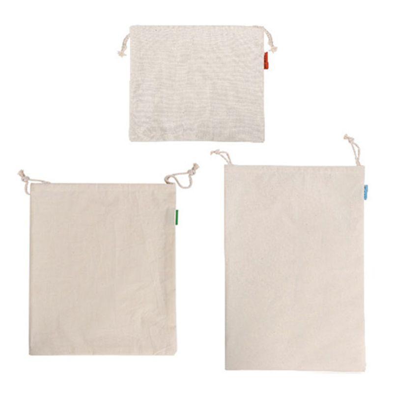 Reusable Vegetable Fruit Toys Storage Bags Organic Cotton Shopping Bag Cotton Grocery Shopping Bags Folding
