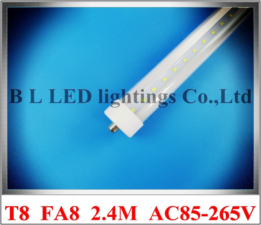 FA8 single pin LED tube light lamp LED fluorescent light tube T8 2400mm 2.4M 8ft FA8 SMD2835 192 led 4800lm 40W AC85-265V t8 led tube 1200mm light 18w120cm 4ft 1 2m g13 with holder fixture high power smd2835 fluorescent replacement 85 265v