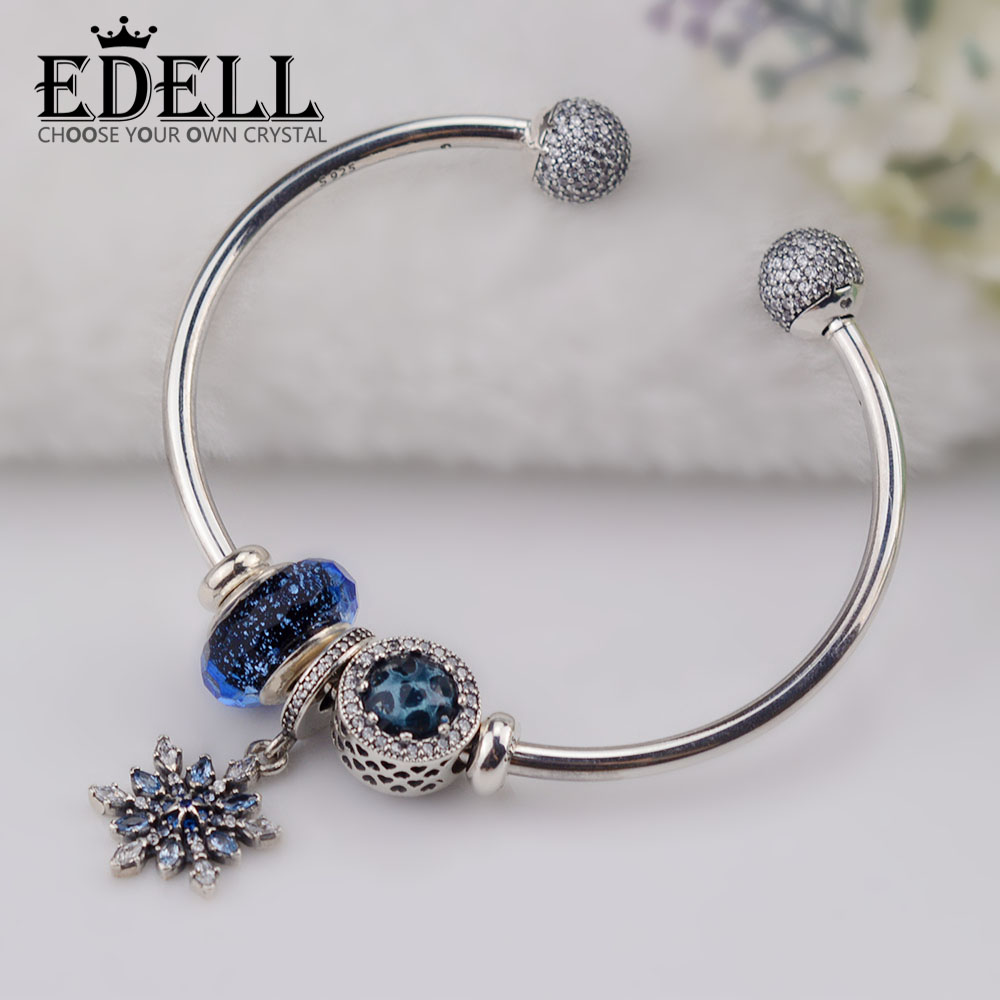 EDELL Original 100% 925 Sterling Silver Moments 925 Silver Open Bracelet Set To Send A woman Gift Adjustable Bracelet & Bangle