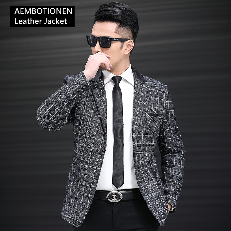 Jacket Genuine-Leather Blazer Coat Sheepskin Casual Slim Collar Business Suit Plaid High-Grade