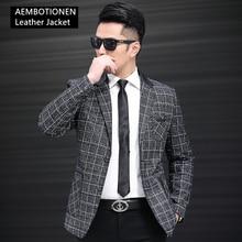 High Grade Business Men Leather Jacket Plaid Suit Collar Slim Casual Sheepskin Leather Genuine Leather Coat Men's Leather Blazer