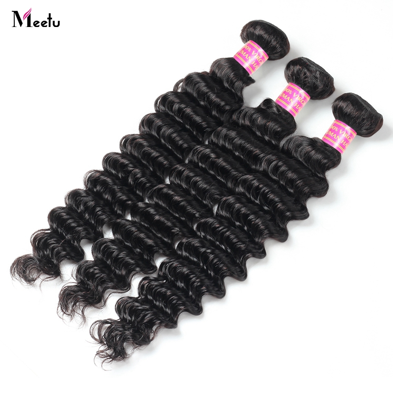 Meetu 3 Bundles Brazilian Deep Wave Bundles Natural Human Hair Weave Extensions 300g For Full Head