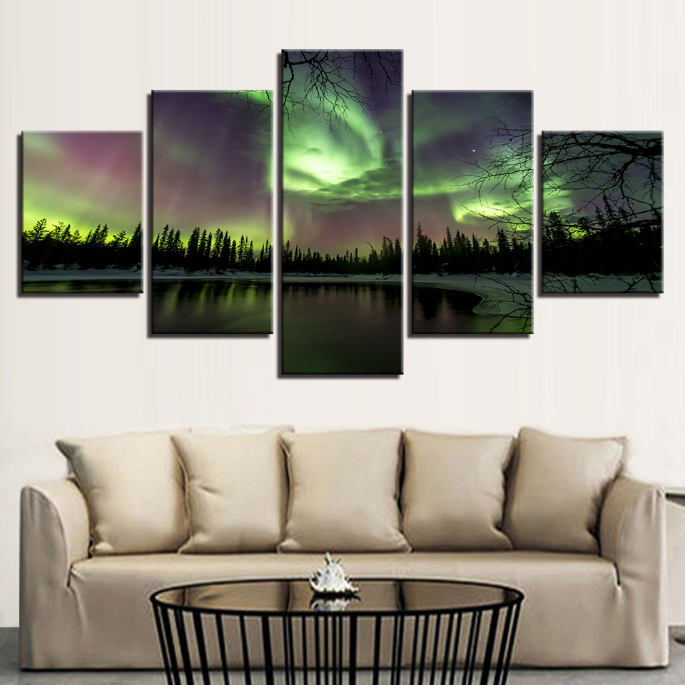 Toile HD Imprime Peintures Décor À La Maison Modulaire Photos Cadre 5 Pièces Vert Forêt Aurora Lac Arbres Paysage Mur D'affiche Art