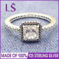LS High Quality 100 Real 925 Sterling Silver Timeless Elegance Ring For Women Party Wedding 100