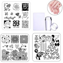 Biutee 6pcs Nail Stamping Plates Template Lace Flower Animal Pattern Art Stamp Image Plate Stencil Nails Tool
