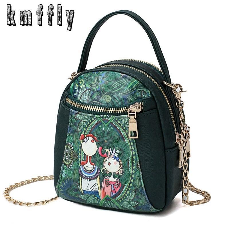 KMFFLY 2018 New Hot Sell Women Messenger Bags Leather Female Casual Mini Handbags Designer Cartoon Print Tote Lady Shoulder Bag