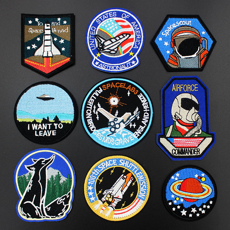 Iron On Jeans Decor Clothes Embroidered Patch Badges Spaceship Applique