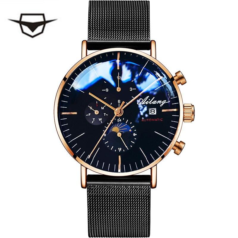 AILANG Hommes Mécanique Automatique de Mode Top Marque Sport Montre Tourbillon Phase de Lune En Acier Inoxydable Montre Homme Horloge