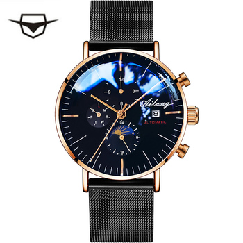 AILANG Men's Mechanical Automatic Fashion Top Brand Sport Watch Tourbillon Moon Phase Stainless Steel Watch Male Clock ailang blue luxury watch men automatic stainless steel watch male moon phase and calendar business mechanical watches a043