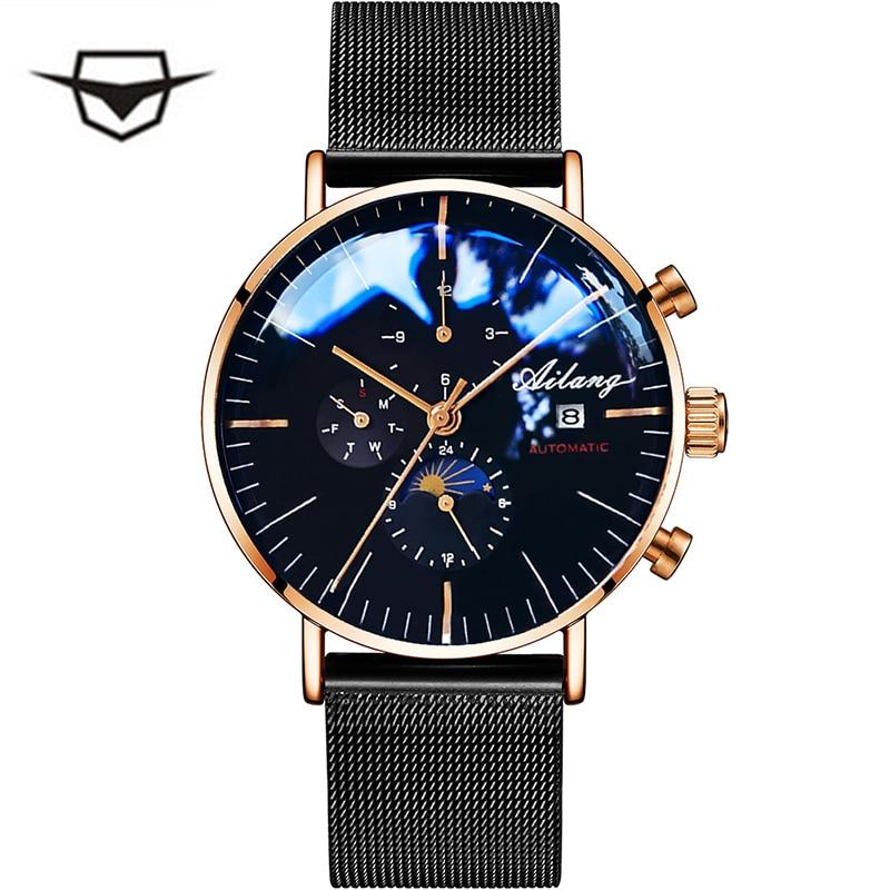 лучшая цена AILANG stainless steel men watches black watch men luxury watch brand waterproof quartz watch male authentic man