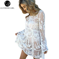 Lily Rosie Girl Women 2017 O Neck Hollow Out Sexy Night Club Party Dress Loose Solid