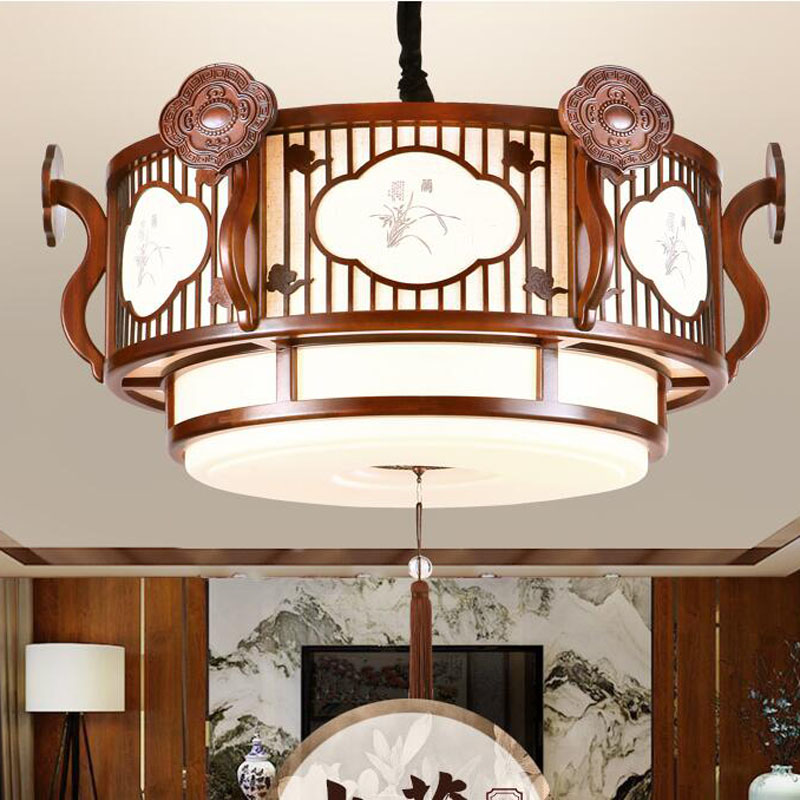 Chinese pendant light solid wood living room lamp restaurant lights antique restaurant lighting round pendant lamp WL5030942 chinese style classical wooden sheepskin pendant light living room lights bedroom lamp restaurant lamp restaurant lights