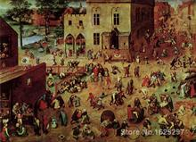 Animal paintings Pieter Bruegel the Elder's reproduction Childrens Games hand painted High quality