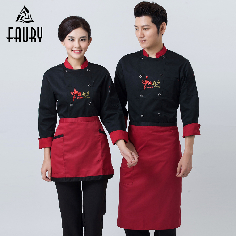 Chinese Embroidery Long-sleeved Kitchen Cooking Coats Unisex Wholesale Chef Cooking Jackets Work Uniforms Catering Overalls Tops