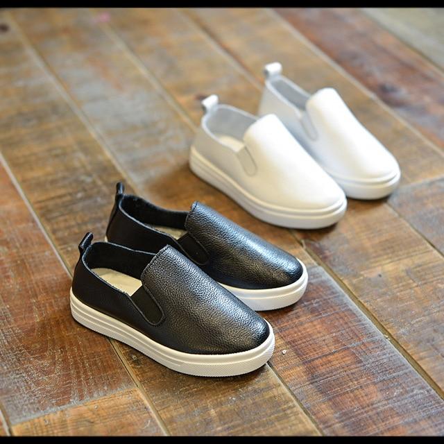 2016 Новая Мода детские Кожаные Ботинки Кроссовки Классические Дышащие Мальчиков Девочек-Подростков Дети Детские Повседневная Обувь Размер 21-37