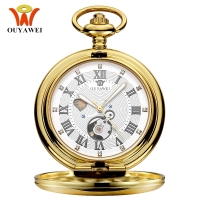 NEW Luxury OUYAWEI Mechanical Pocket Watches Men Full Steel Case Pocket Fob Watch Analog Gold White Dial Steampunk Vintage Clock