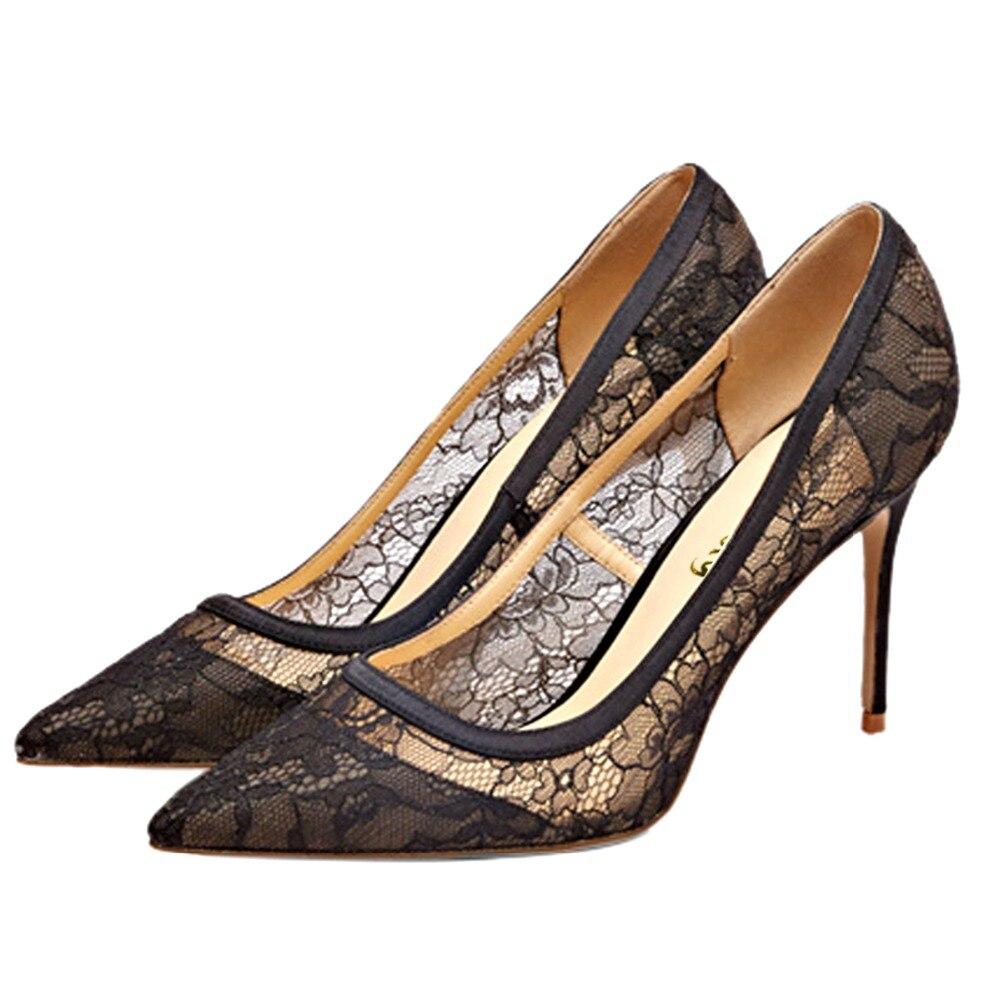 Tacón Pie Malla Tacones Puntiagudo Moda Zapatos Slip Otoño Dedo Tamaño Primavera Del Mujer Negro Finos Alta De on Fiesta Gran Aiyoway Boda 0HqAwCp