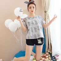 Korean Pajamas Summer Cotton Home Service Short sleeved Suit Sweet And Cute Printing Rabbit Students Girls Home Sleep Suits