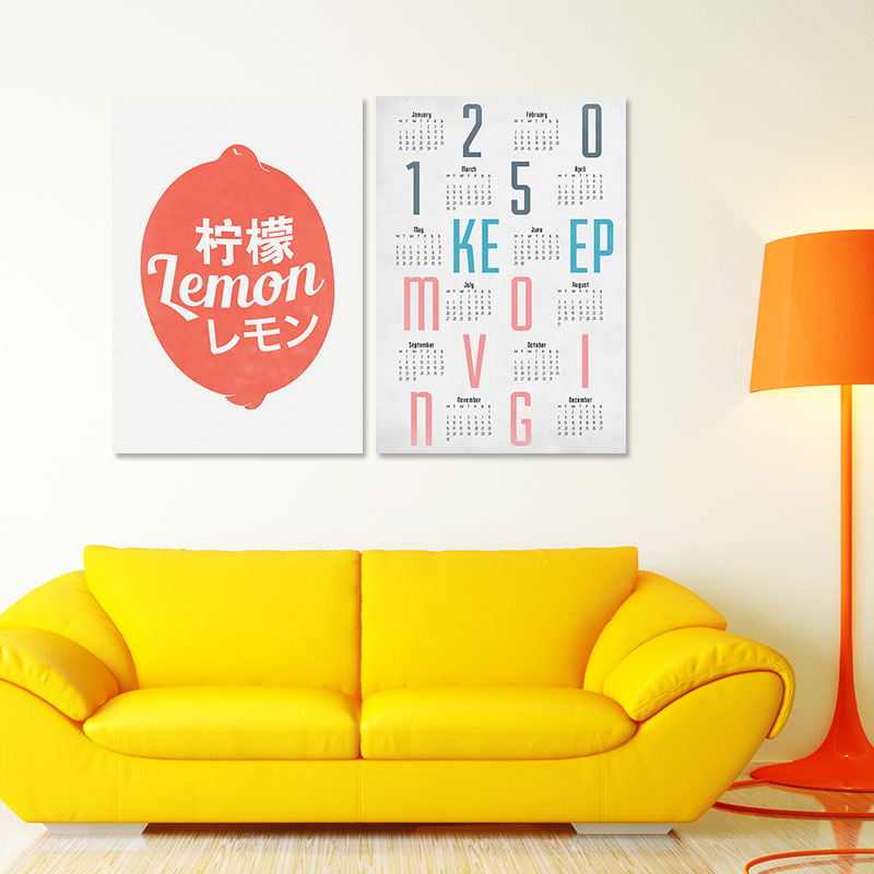 2pcs calendar decoration posters keep moving wall art picture ...