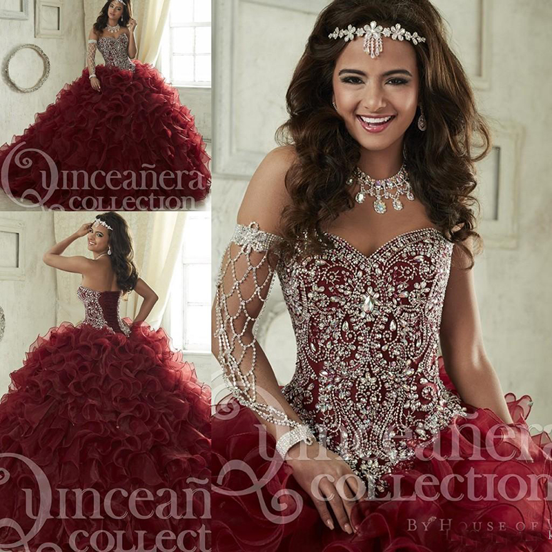 Maroon Quinceanera Dresses 2019 Sweep Train Tiered Cascading Ruffles Pageant Gown Luxury Crystal Corset Sweetheart 16 Masquerade
