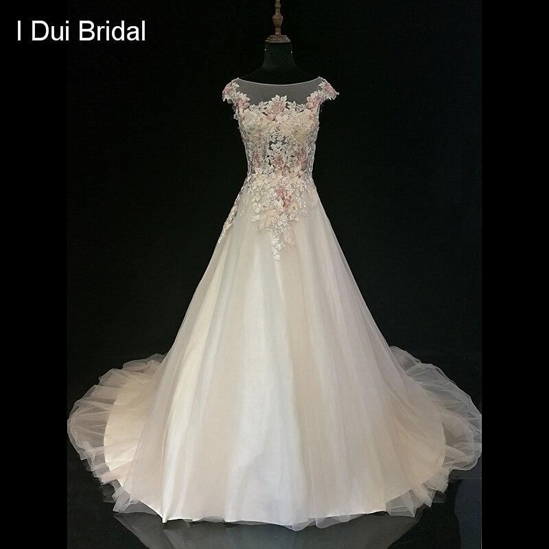 High Quality Lace Wedding Dress A Line Short Cap Sleeve Illusion Neckline Bridal Gown
