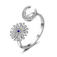 Women Fashion Finger Ring Cocktail Jewelry Romantic Gift For Lovers Solid 925 Sterling Silver Jewelry Moon