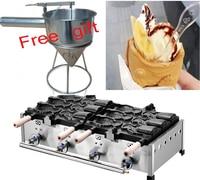 Frete grátis tipo de gás 6 pcs Peixe Grande ice cream máquina Taiyaki