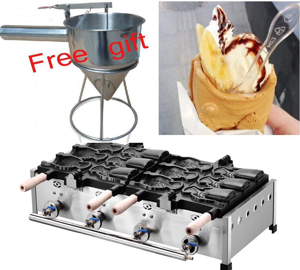 Livraison gratuite gaz type 6 pièces gros poisson crème glacée Taiyaki machine