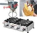Máquina Taiyaki de helado de pescado grande de 6 piezas tipo gas envío gratis