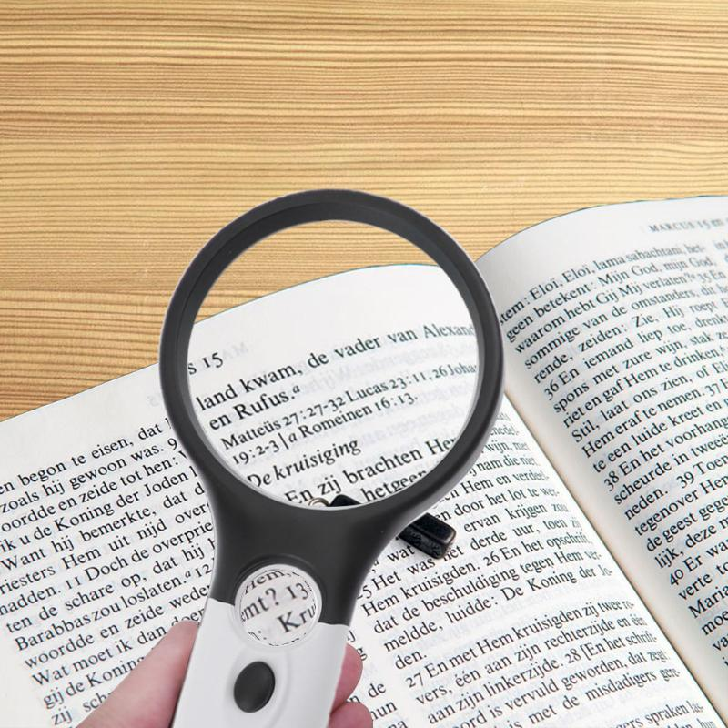 Portable 3x and 45x Double Lens Lighted Magnifying Glass Handheld Reading Loupe Magnifier With 3 LED Handheld Jewellery Loupe
