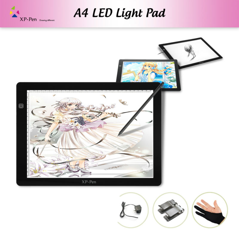 XP-Pen A4 18 LED Art craft Tracing Light Pad Light Box Drawing Pad Copy Board X-ray Pad with Paper Clips and Anti-fouling Glove