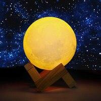 Night Light 3D Print Moon Lamp USB LED Moon Light Gift Touch Sensor Color Changing Night