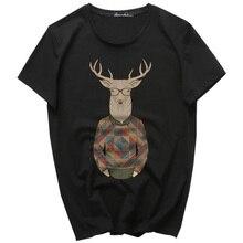 New Arrival Creative Art Little Fawn Design t shirt for Men Summer short sleeve shirts 100% original brand breathable soft tops