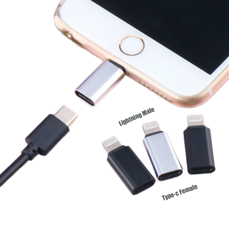 Alloy Type c Female To 8Pin Male Adapter USB Cable Charging Converter for <font><b>IPhone</b></font> <font><b>8</b></font> 7 6 6S Plus X XR XS Ios Data Sync <font><b>Connector</b></font> image