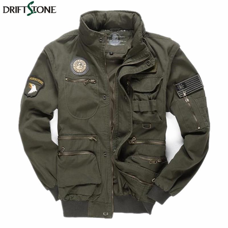Mens Armée Vestes Pilotes Multipoches Aeronautica Militare Bomber Veste Hommes Amovible Manches Tactique Uniforme Militaire Manteau