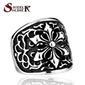 Steel soldier Wholesale Stainless Steel Heave Metal Hexagram Ring For Man Biker Gothic Jewelry men BR8-026