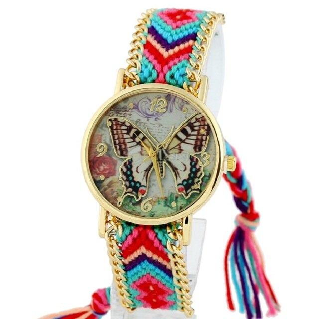 c3bc6ecd1608 Gnova Platinum mariposa mujeres Rainbow Hippie trenza India moda vestido reloj  pulsera étnica cadena de oro