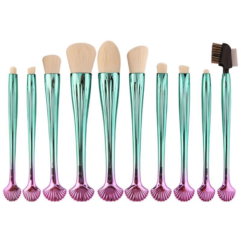 10Pcs Mermaid Shell Design Handle Makeup Brushes Set Face Foundation Powder Blush Contour Blending Eyeshadow Eyeliner Brushes