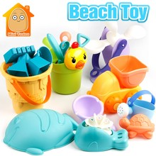 9-19PCS Summer Plastic Soft Baby Beach Toys Bath Play Set With Ducks Bucket Sand Tool Model Water Game Sand Playing For Kids(China)