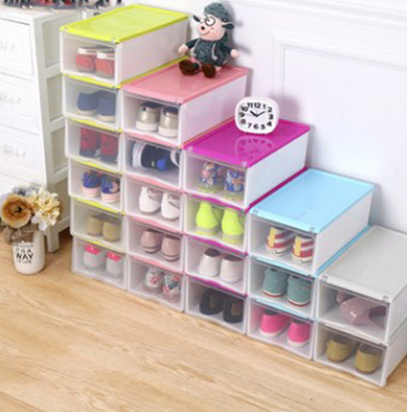 Thicky Colored Transparent Plastic Clamshell Shoebox Storage Box Drawer Shoe Boots Organ ...