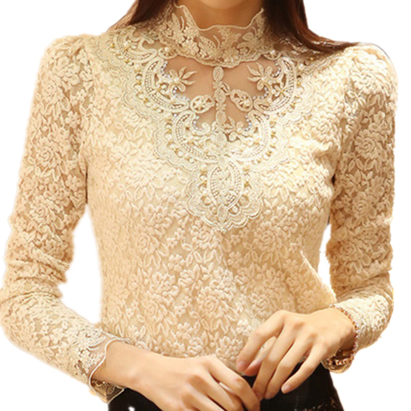 Autumn Women Lace   Blouse   Petal Long Sleeve Turtleneck Fashion   Blouses     Shirts   Crochet Blusas Casual Female Chemise Plus Size 3XL