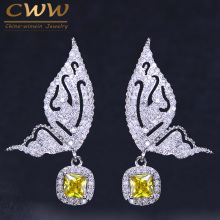 CWWZircons Yellow And Blue Cubic Zirconia Pave Lovely 925 Sterling Silver Pin Fly Butterfly Shape Drop Earrings For Women CZ191