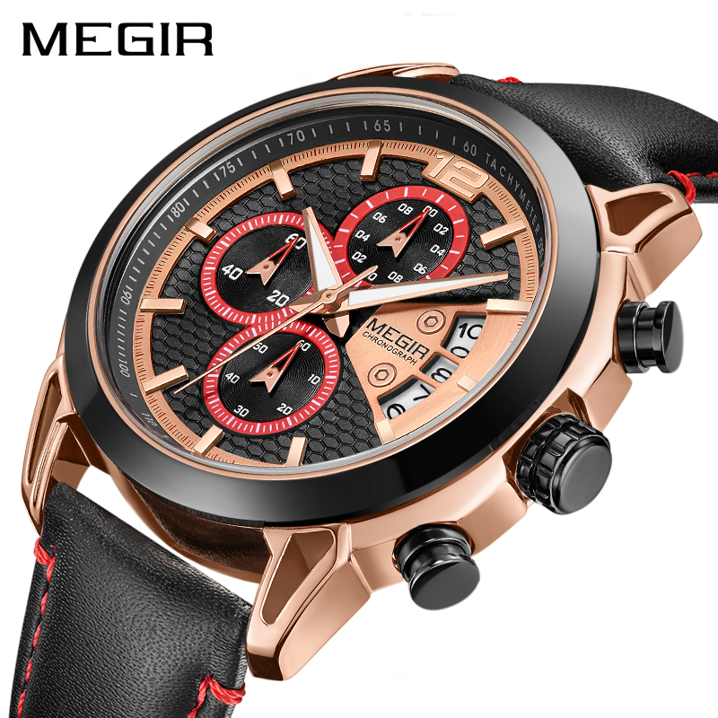 Creative MEGIR Chronograph Men Watch Relogio Masculino Fashion Leather Quartz Wrist Watches Men Clock Hour Army Military WatchesCreative MEGIR Chronograph Men Watch Relogio Masculino Fashion Leather Quartz Wrist Watches Men Clock Hour Army Military Watches